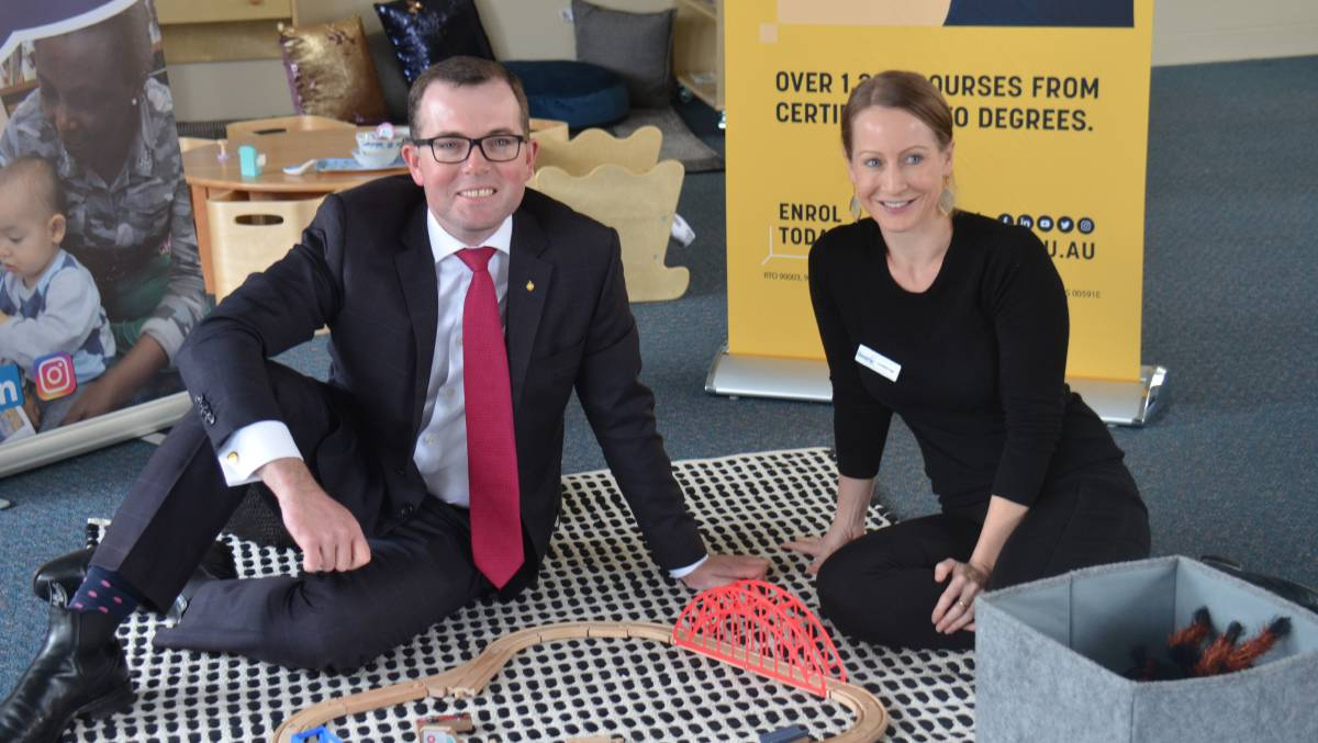 OPEN: Northern Tablelands MP Adam Marshall and Gowrie creches general manager Clementine Buckett at Armidale TAFE campus on Beardy Street.