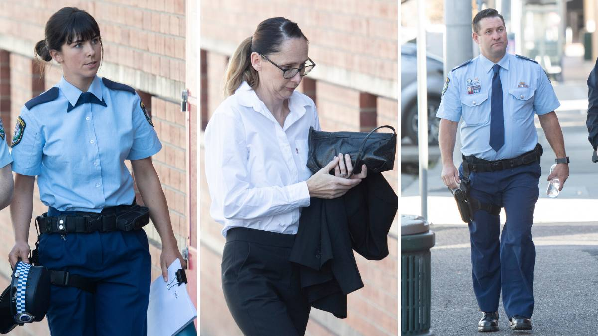 Inquest wraps up: Constable Samantha Petty, former Senior Constable Helen McMurtrie and Sergeant Mark Johnston outside Tamworth Coroner's Court. Photos: Peter Hardin