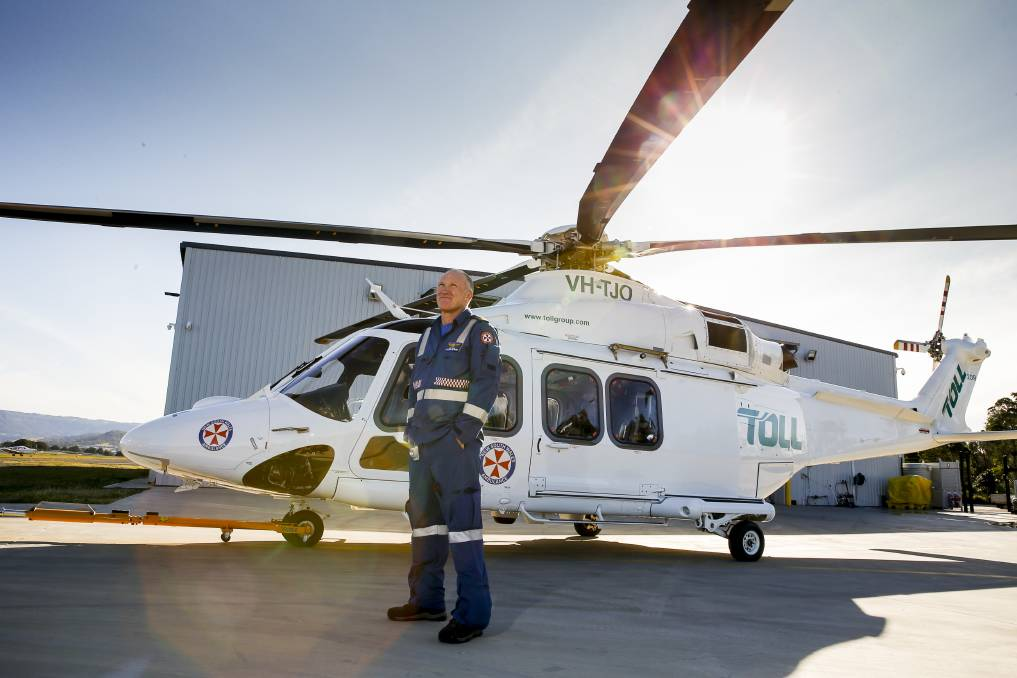 Success: Critical care paramedic Matt Gane had a dramatic water rescue on his first day working with the Wollongong ambulance helicopter crew. Picture: Anna Warr