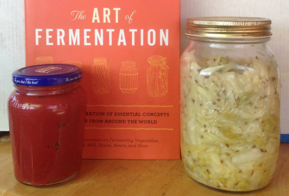 Two of Ray South's fermentated vegetables. Fermentation can add to the shelf life and to the nutritional value of food.