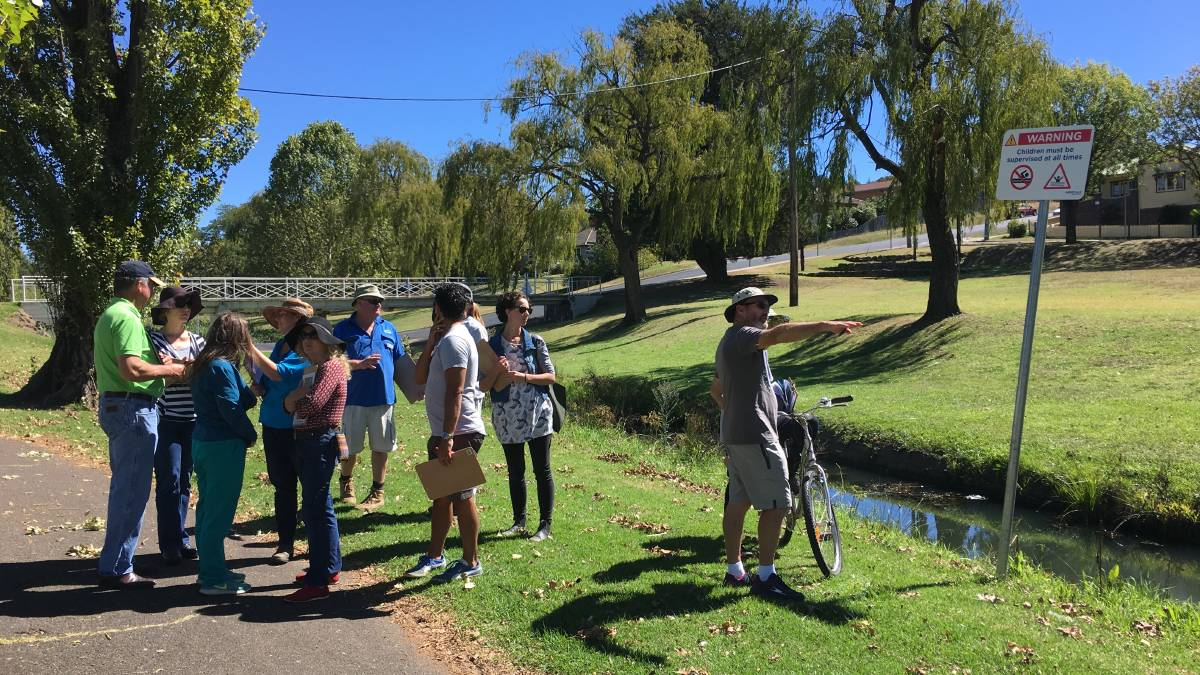 CREEKLANDS: Community members visited Dumaresq Creek to discuss options for its development.