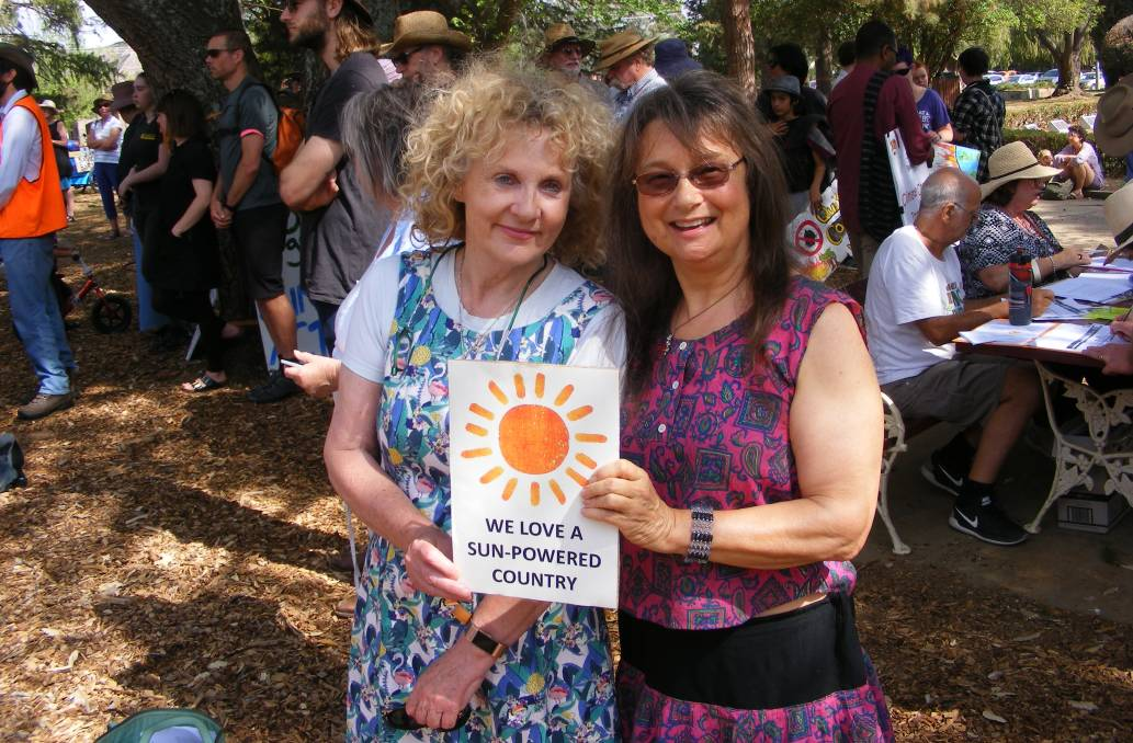 Dr Dorothy Robinson with Debra O'Brien at the Climate Rally last month. Picture supplied.