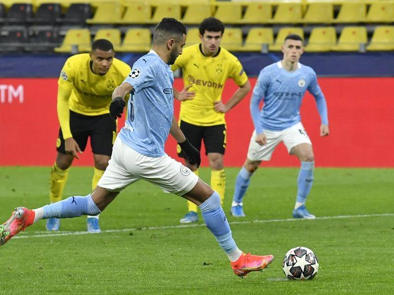 Riyad Mahrez scored a penalty to help send Manchester City to the Champions League semi-finals.