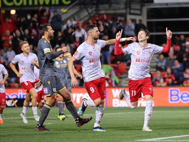 Craig Goodwin was among the goalscorers as Adelaide United beat Macarthur FC 3-1 in the A-League.