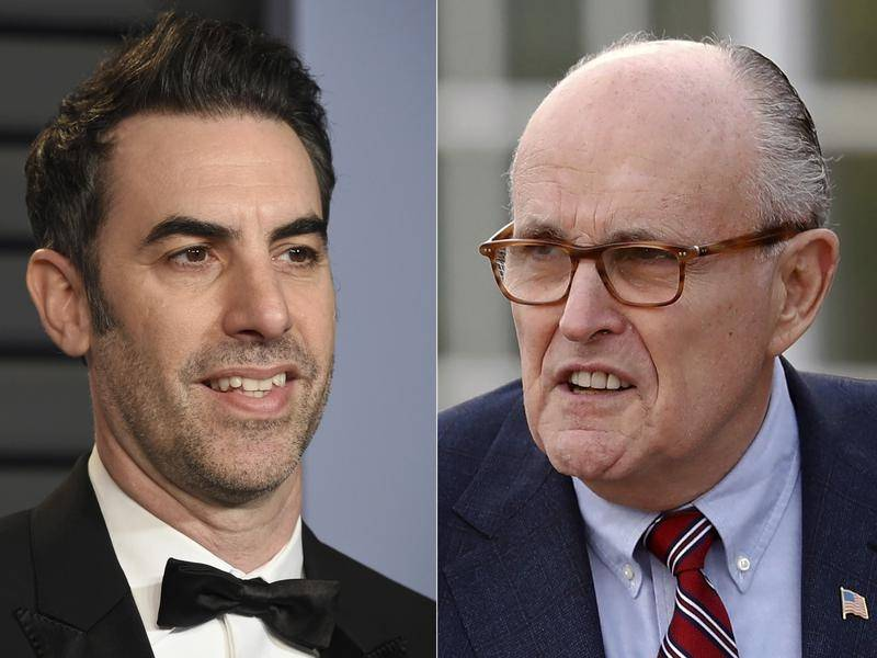 Rudy Giuliani (R) appears in the upcoming Borat sequel starring Sacha Baron Cohen.